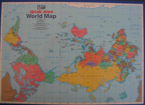 Carte centrée sur l'Australie, avec le Nord en bas