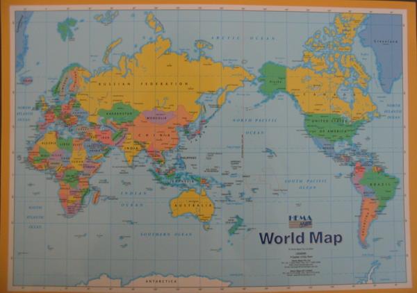 Carte centrée sur l'Australie, avec le Nord en haut