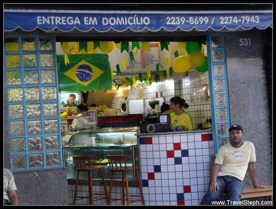 Les décorations d'un magasin à Rio de Janeiro, pour la Copa do Mundo