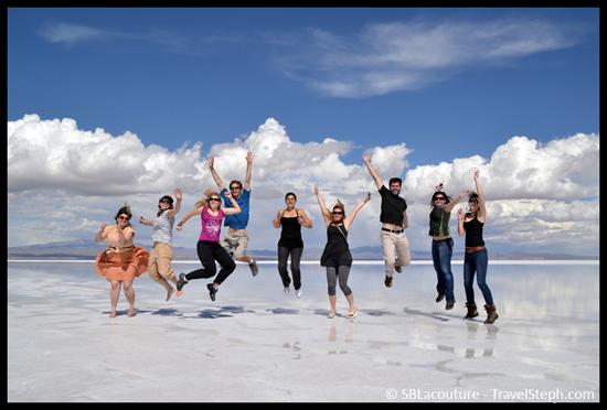Pas facile d'être synchronisé... Salar d'Uyuni, Bolivie